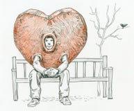 Traje del día de tarjetas del día de San Valentín stock de ilustración