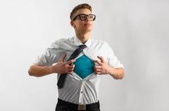 Traje del superhéroe del hombre de negocios Fotos de archivo