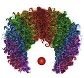 Traje divertido del pelo colorido de la peluca del payaso Imagenes de archivo