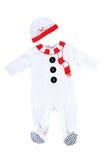 Traje do bebê do boneco de neve Isolado no fundo branco Fotografia de Stock Royalty Free