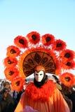 Traje e máscara alaranjados do carnaval Fotografia de Stock Royalty Free