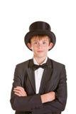 Traje formal del vintage del muchacho que lleva joven elegante Imágenes de archivo libres de regalías