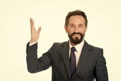 Traje formal maduro barbudo del hombre Direcci?n de las demostraciones del hombre de negocios o del encargado Mire ese anuncio El fotos de archivo