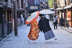 Traje japonês tradicional do casamento em kyoto foto de stock royalty free