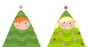 Traje lindo del árbol del cabrito de la Navidad (muchacho y muchacha) Imagen de archivo libre de regalías