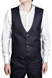 Traje masculino azul profundo del chaleco de la tela escocesa, aislado sobre los vagos blancos foto de archivo libre de regalías