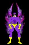 Traje roxo e amarelo do super-herói masculino genérico ilustração stock
