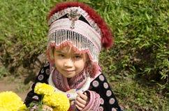 Traje tailandês do desgaste da menina tradicional do hmong étnico Fotografia de Stock