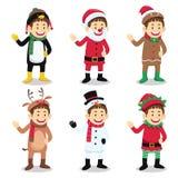 Traje vestindo do Natal do menino Foto de Stock