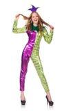 Traje vestindo do palhaço da mulher Imagens de Stock