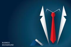 Traje y corbata roja, fondo del hombre de negocios del concepto del negocio Fotografía de archivo libre de regalías