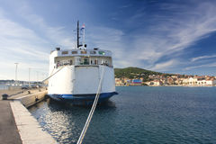 Traject at mooring. Huge white traject at mooring Royalty Free Stock Images