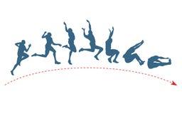 Trajectória do salto longo Fotos de Stock Royalty Free