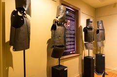 Trajes de Kelly Gang de la reproducción de la armadura en Ned Kelly Vault, Beechworth foto de archivo libre de regalías