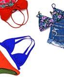 Trajes de los accesorios del viaje, fondo de las vacaciones de verano, bikini Imagenes de archivo
