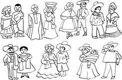 Trajes nacionales africanos y latinoamericanos ilustración del vector
