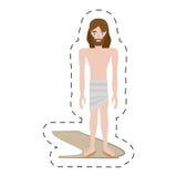 trajes pelados Jesucristo de la historieta - vía crucis ilustración del vector