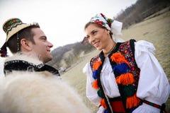 Trajes romenos tradicionais Foto de Stock Royalty Free