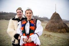 Trajes rumanos tradicionales Imagen de archivo libre de regalías
