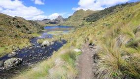 Trajeto ao longo do lago azul no parque nacional Equador de Cajas filme