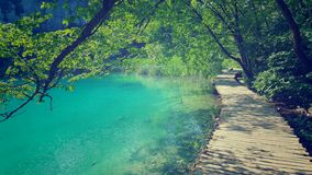 Trajeto ao longo dos lagos Plitvice Jezera, Croácia Fotografia de Stock