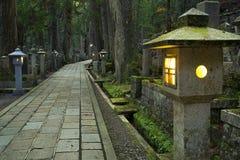 Trajeto através do cemitério de Koyasan Okunoin, Japão Imagens de Stock