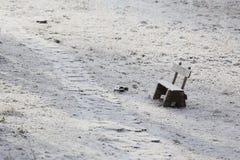 Trajeto coberto de neve no parque imagem de stock