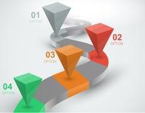 trajeto curvado 3d com os distintos pontos Fotos de Stock Royalty Free