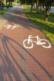 Trajeto da bicicleta com um símbolo da bicicleta. Imagem de Stock Royalty Free