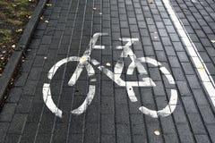 Trajeto da bicicleta marcado pelo símbolo fotos de stock