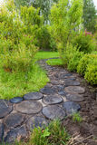 Trajeto da caminhada no jardim decorado com cotoes de madeira Imagem de Stock Royalty Free