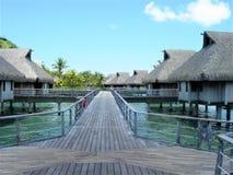 Trajeto da folhosa ao recurso excedente de Bora Bora dos bungalows da água imagens de stock