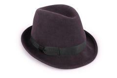 Trajeto de grampeamento clássico preto do chapéu do fedora Foto de Stock