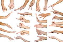 Trajeto de grampeamento do gesto de mão masculino múltiplo isolado nos vagabundos brancos fotos de stock