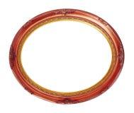 Trajeto de grampeamento isolado cobre-vermelho oval do quadro de madeira Foto de Stock Royalty Free