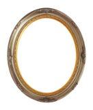 Trajeto de grampeamento isolado de bronze oval do quadro de madeira Imagem de Stock