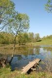 Trajeto de madeira em uma lagoa rural fotos de stock royalty free