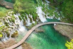 Trajeto de madeira no parque nacional dos lagos Plitvice Imagens de Stock