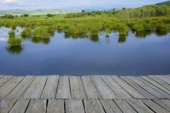 Trajeto de madeira sobre o lago imagem de stock