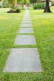 Trajeto de pedra do jardim com a grama que cresce acima Fotografia de Stock