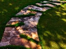 Trajeto de pedra na grama verde fotos de stock