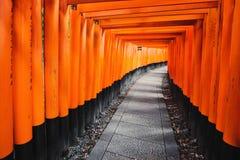 Trajeto de Torii no santuário de Fushimi Inari Taisha em Kyoto, Japão Imagem de Stock Royalty Free