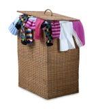 Trajeto de vime de transbordamento da cesta de lavanderia Fotos de Stock Royalty Free