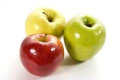 Trajeto de w de três maçãs no branco Imagem de Stock Royalty Free