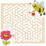 Trajeto do achado da abelha da ajuda a florescer labirinto Jogo do labirinto para miúdos ilustração royalty free
