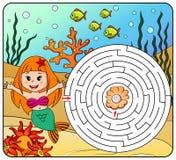 Trajeto do achado da sereia da ajuda a perolizar labirinto Jogo do labirinto para miúdos Fotos de Stock
