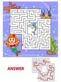 Trajeto do achado da sereia da ajuda a perolizar labirinto Jogo do labirinto para miúdos Fotografia de Stock Royalty Free