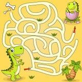 Trajeto do achado do dinossauro da ajuda para aninhar o labirinto Jogo do labirinto para miúdos Imagens de Stock Royalty Free