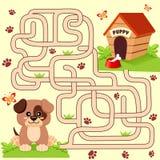Trajeto do achado do cachorrinho da ajuda a sua casa labirinto Jogo do labirinto para miúdos Fotos de Stock Royalty Free