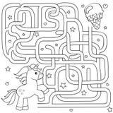 Trajeto do achado do unicórnio da ajuda ao gelado labirinto Jogo do labirinto para miúdos Ilustração preto e branco do vetor para ilustração stock